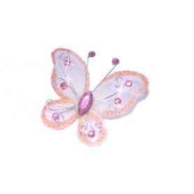 Tüll pillangó akril strasszal 5.5x5cm