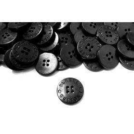 Négylyukú feliratos gombok -Fekete-20mm