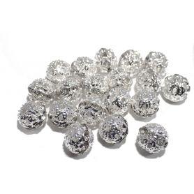 Fémgyöngy strasszal Ø10mm - ezüst -