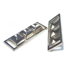 Szögletes, felvarrható fém dísz -Arany- 14x40mm