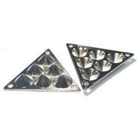 Háromszög, felvarrható fém dísz -Arany- 29mm