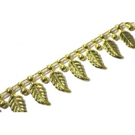 Műanyag méteres dísz -Arany leveles- 2cm