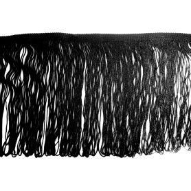 Selyemfényű rojt -Fekete -20cm
